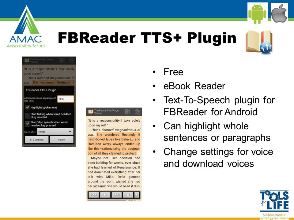 FBReader TTS+ Plugin Free eBook Reader Text-To-Speech plugin for FBReader for Android Can highlight whole sentences or paragraphs Change settings for voice and download voices