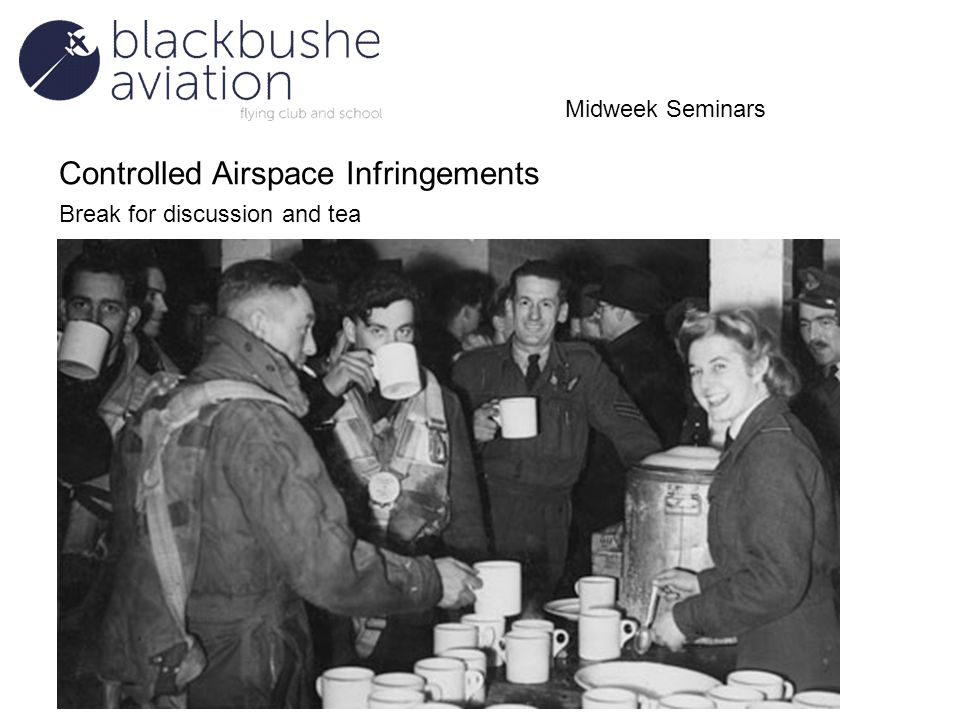 Controlled Airspace Infringements Break for discussion and tea Midweek Seminars