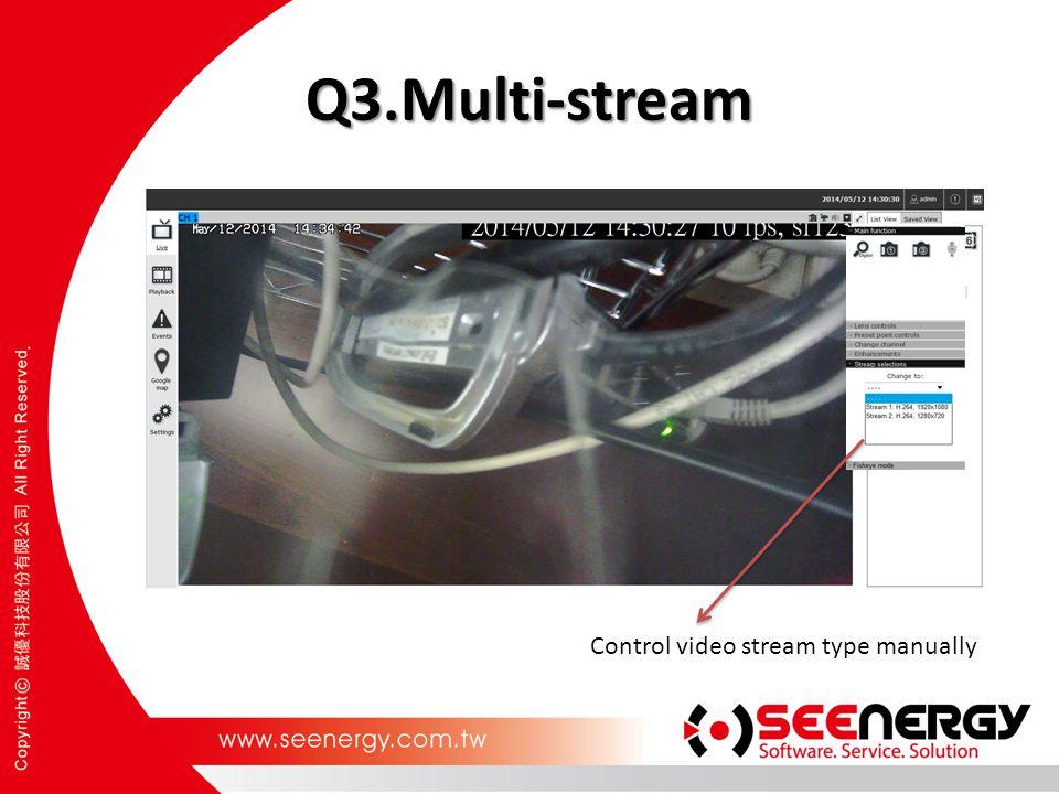 Q3.Multi-stream Control video stream type manually