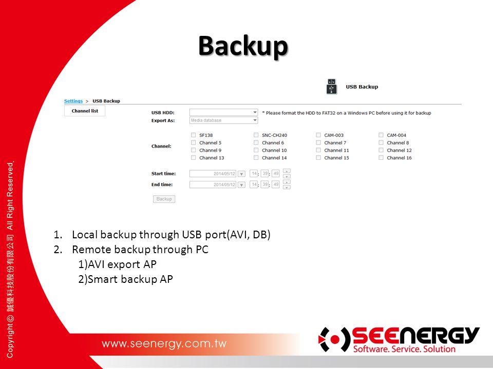 Backup 1.Local backup through USB port(AVI, DB) 2.Remote backup through PC 1)AVI export AP 2)Smart backup AP