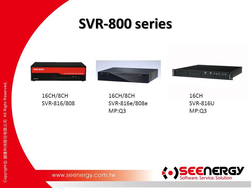 SVR-800 series 16CH/8CH SVR-816/808 16CH/8CH SVR-816e/808e MP:Q3 16CH SVR-816U MP:Q3