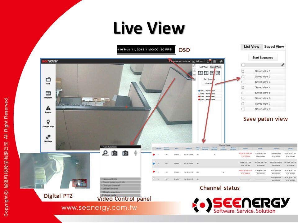 Live View Video Control panel Channel status Save paten view OSD Digital PTZ