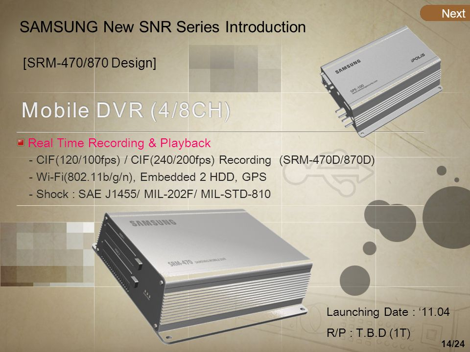 14/24 WaitingNext SAMSUNG New SNR Series Introduction [SRM-470/870 Design] Real Time Recording & Playback - CIF(120/100fps) / CIF(240/200fps) Recordin