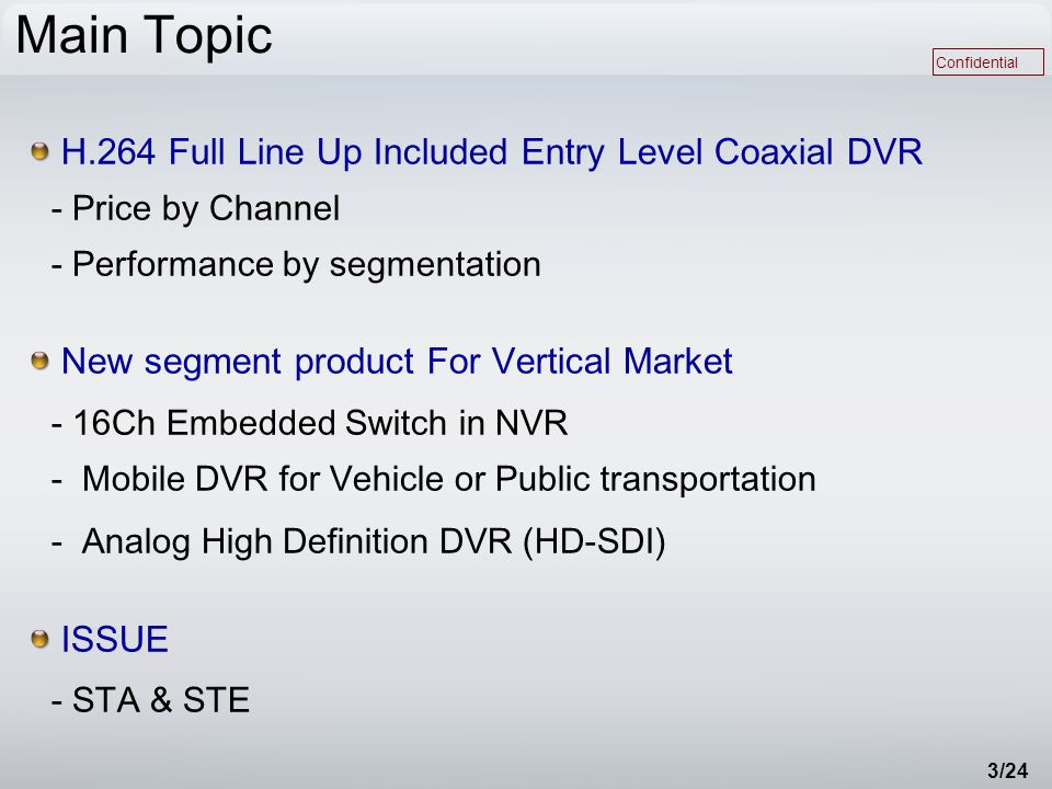 Confidential 3/24 Main Topic H.264 Full Line Up Included Entry Level Coaxial DVR - Price by Channel - Performance by segmentation New segment product