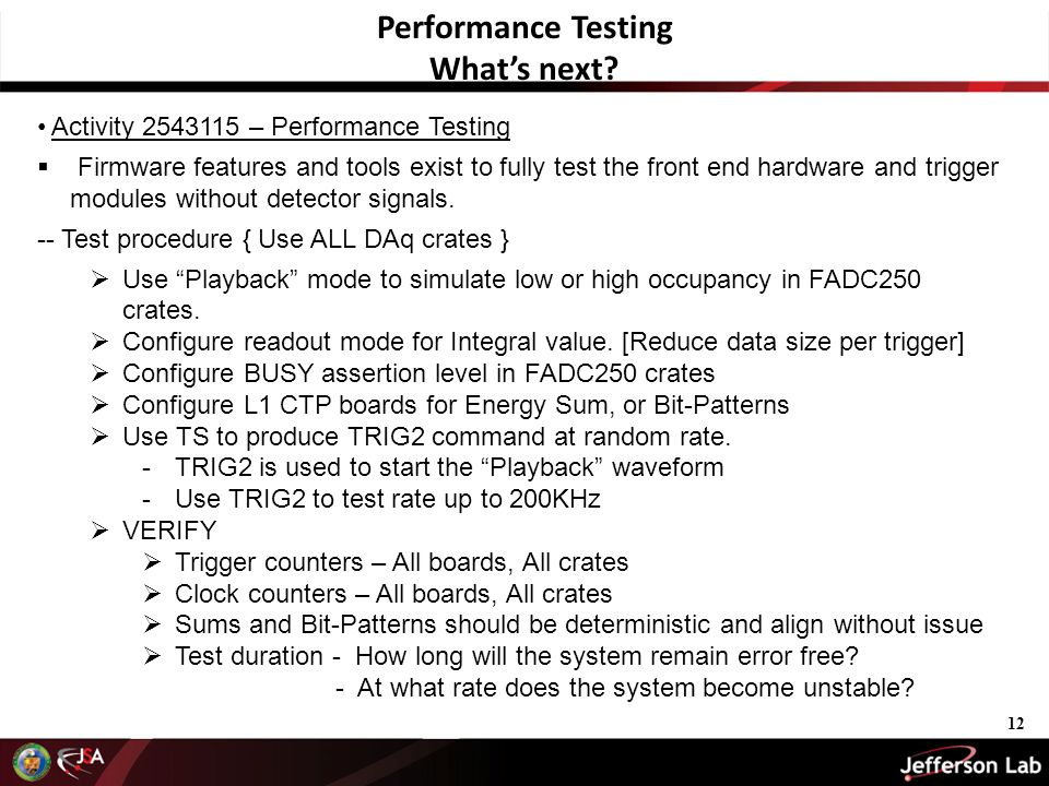 Activity 2543115 – Performance Testing  Firmware features and tools exist to fully test the front end hardware and trigger modules without detector signals.