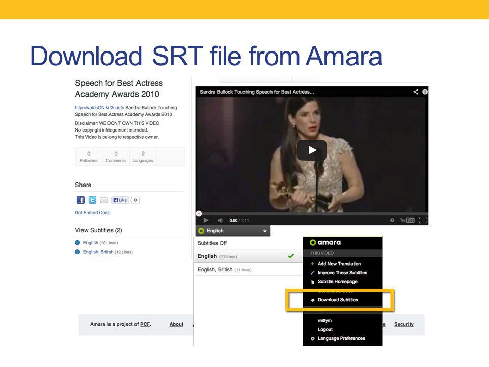 Download SRT file from Amara