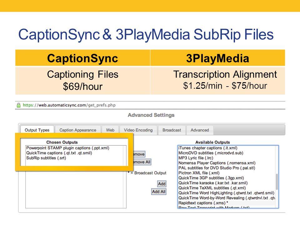 CaptionSync & 3PlayMedia SubRip Files CaptionSync3PlayMedia Captioning Files $69/hour Transcription Alignment $1.25/min - $75/hour