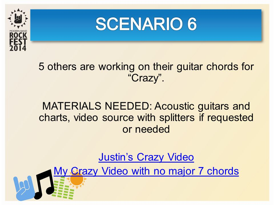 5 others are working on their guitar chords for Crazy .