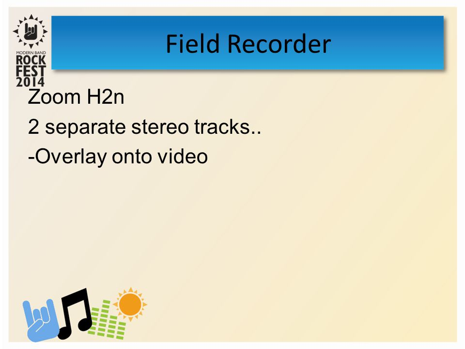 Zoom H2n 2 separate stereo tracks.. -Overlay onto video Field Recorder