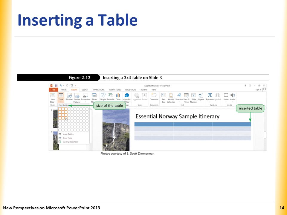 XP Inserting a Table New Perspectives on Microsoft PowerPoint 201314