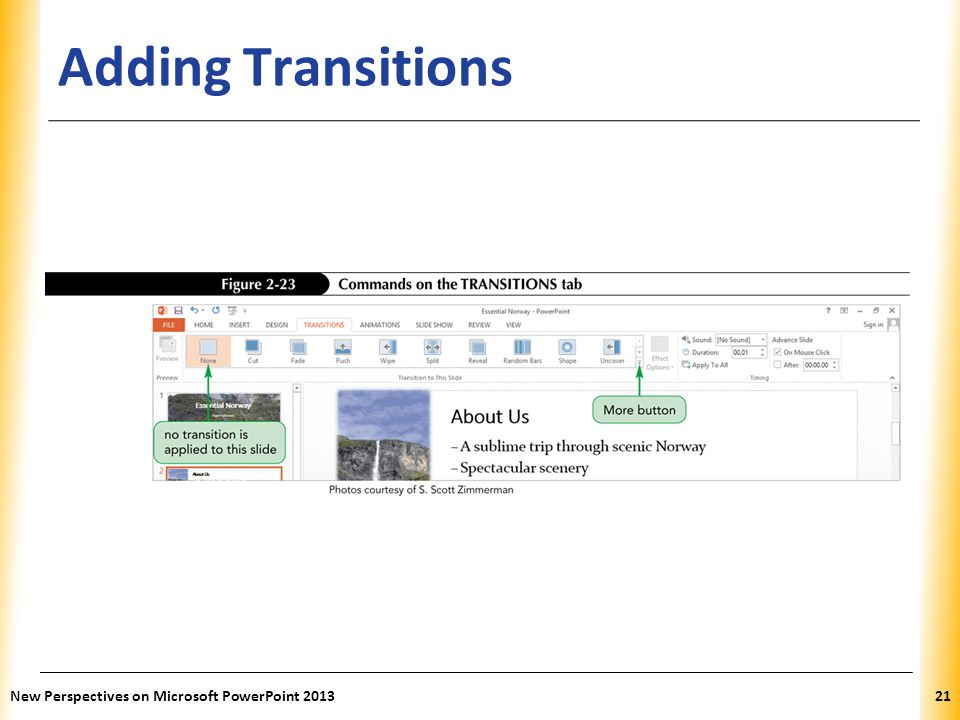 XP Adding Transitions New Perspectives on Microsoft PowerPoint 201321