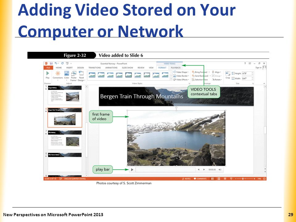 XP Adding Video Stored on Your Computer or Network New Perspectives on Microsoft PowerPoint 201329