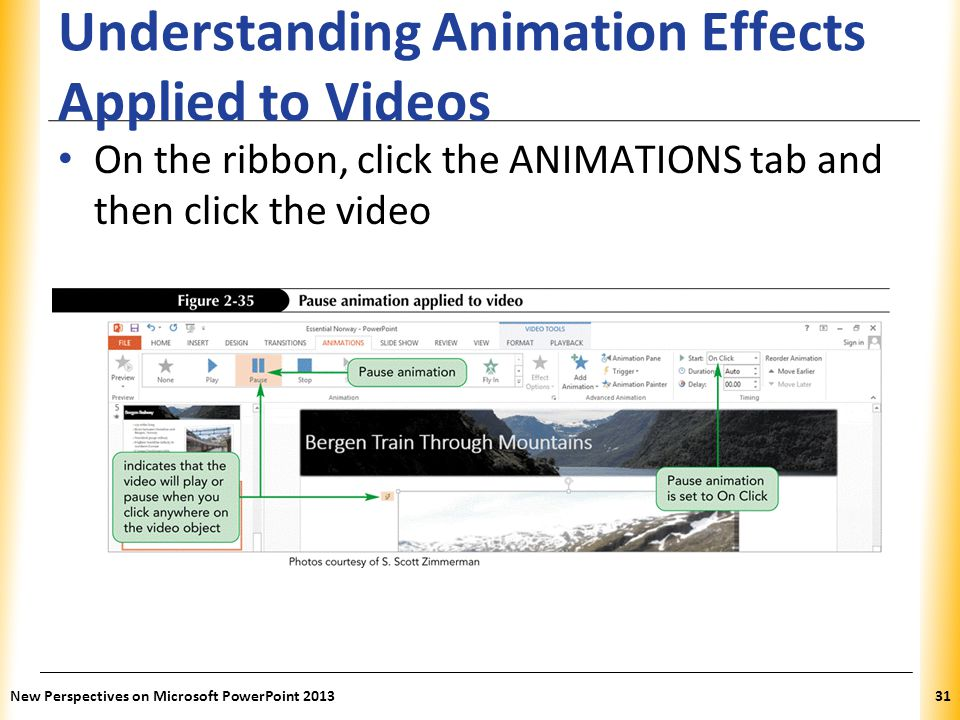 XP Understanding Animation Effects Applied to Videos On the ribbon, click the ANIMATIONS tab and then click the video New Perspectives on Microsoft Po