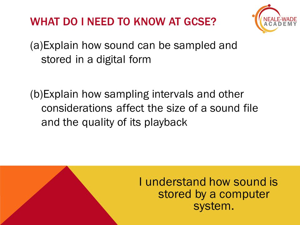 LESSON OUTCOME I understand and can explain how sound is stored by a computer system.