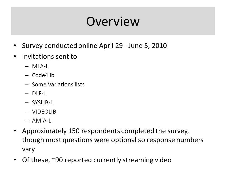 Overview Survey conducted online April 29 - June 5, 2010 Invitations sent to – MLA-L – Code4lib – Some Variations lists – DLF-L – SYSLIB-L – VIDEOLIB