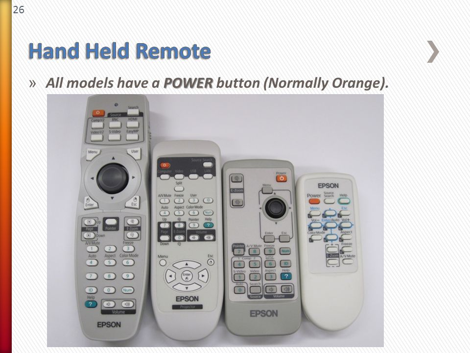 26 POWER » All models have a POWER button (Normally Orange).