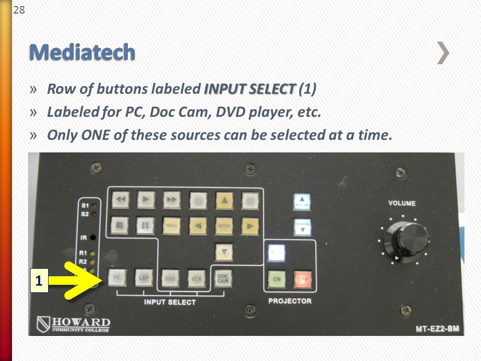28 INPUT SELECT » Row of buttons labeled INPUT SELECT (1) » Labeled for PC, Doc Cam, DVD player, etc. » Only ONE of these sources can be selected at a