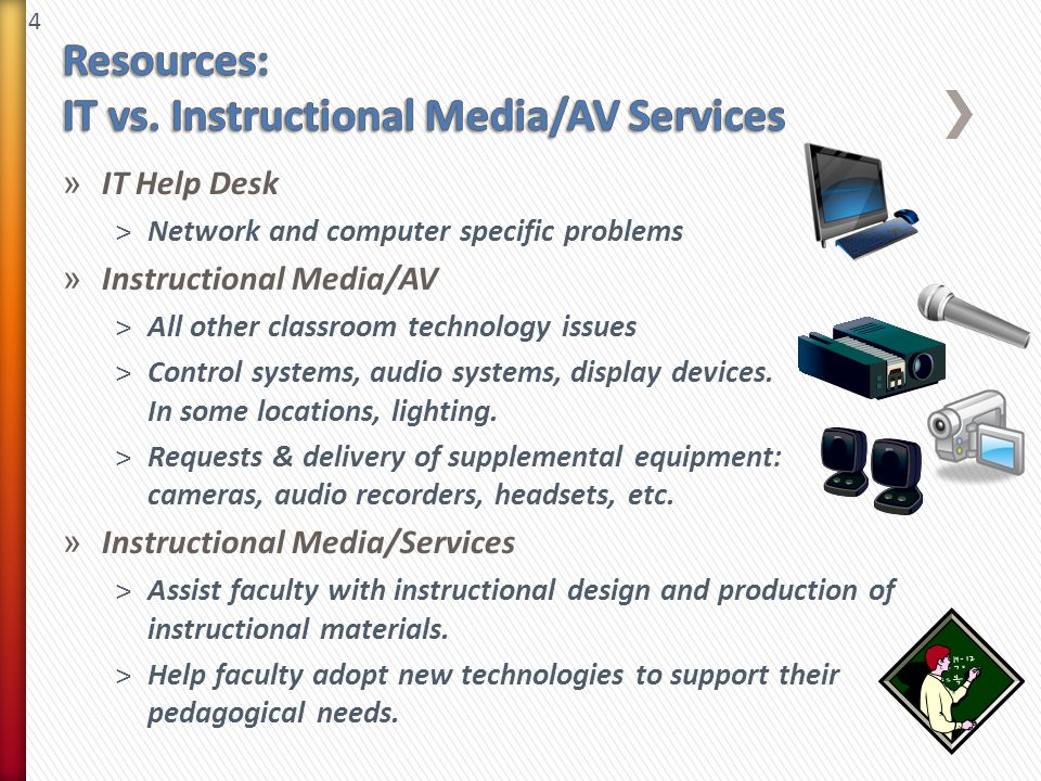 4 » IT Help Desk ˃Network and computer specific problems » Instructional Media/AV ˃All other classroom technology issues ˃Control systems, audio systems, display devices.