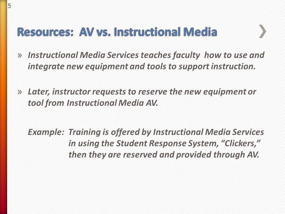 5 » Instructional Media Services teaches faculty how to use and integrate new equipment and tools to support instruction. » Later, instructor requests