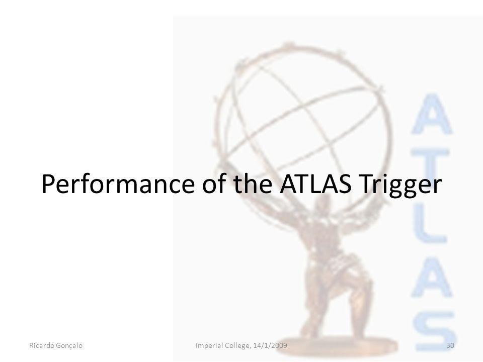 Performance of the ATLAS Trigger Ricardo GonçaloImperial College, 14/1/200930