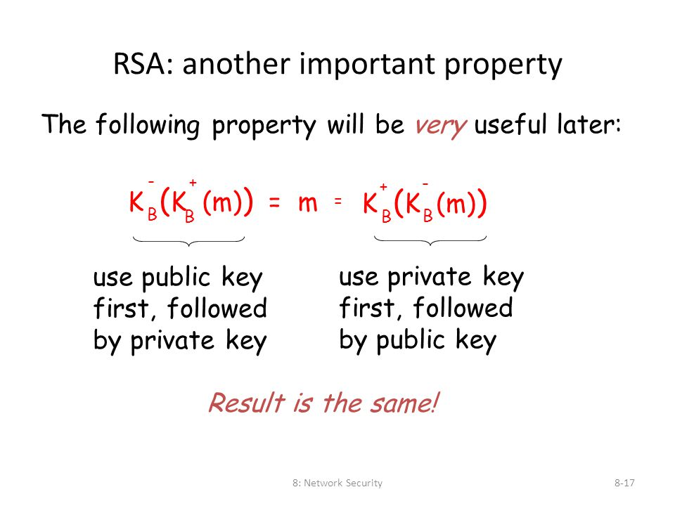 8: Network Security8-17 RSA: another important property The following property will be very useful later: K ( K (m) ) = m B B - + K ( K (m) ) B B + -