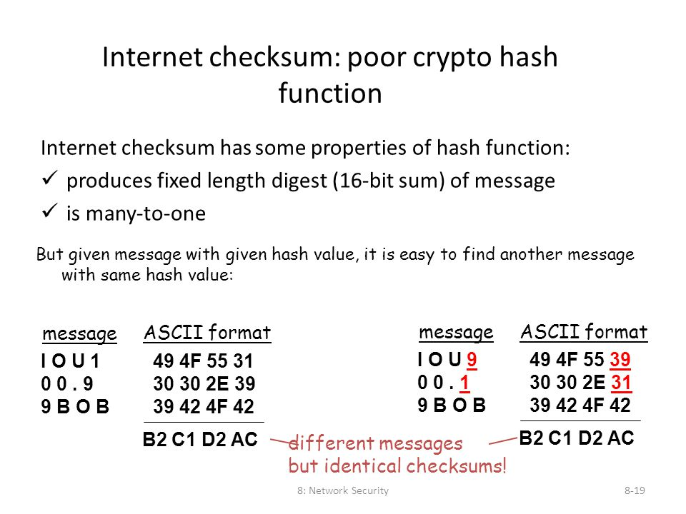 8: Network Security8-19 Internet checksum: poor crypto hash function Internet checksum has some properties of hash function: üproduces fixed length di