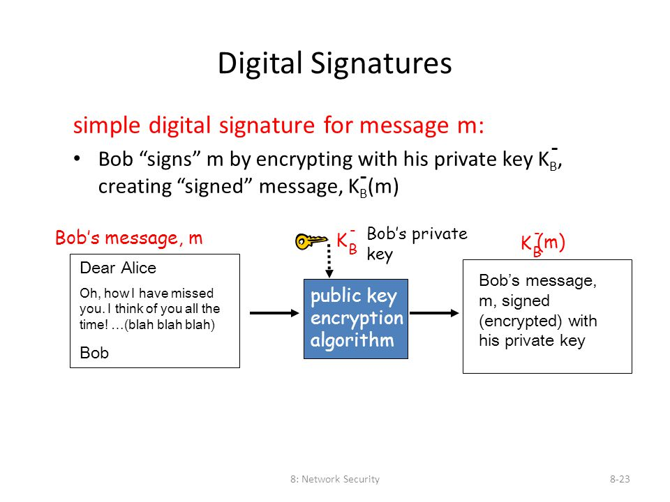 "8: Network Security8-23 Digital Signatures simple digital signature for message m: Bob ""signs"" m by encrypting with his private key K B, creating ""sig"