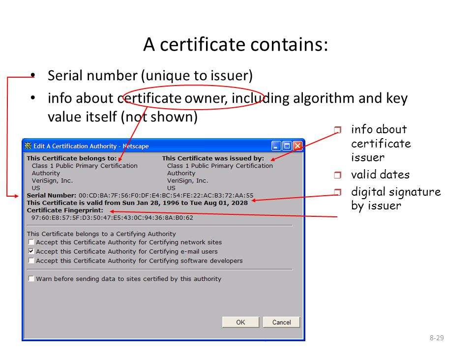 8: Network Security8-29 A certificate contains: Serial number (unique to issuer) info about certificate owner, including algorithm and key value itsel
