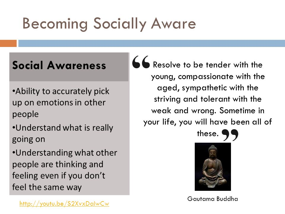 Becoming Socially Aware Social Awareness Ability to accurately pick up on emotions in other people Understand what is really going on Understanding what other people are thinking and feeling even if you don't feel the same way Resolve to be tender with the young, compassionate with the aged, sympathetic with the striving and tolerant with the weak and wrong.