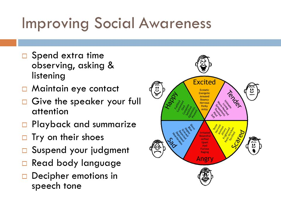 Improving Social Awareness  Spend extra time observing, asking & listening  Maintain eye contact  Give the speaker your full attention  Playback and summarize  Try on their shoes  Suspend your judgment  Read body language  Decipher emotions in speech tone