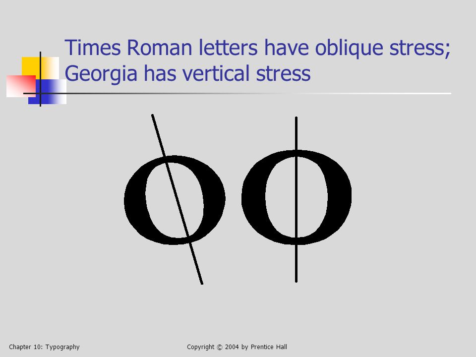 Chapter 10: TypographyCopyright © 2004 by Prentice Hall Times Roman letters have oblique stress; Georgia has vertical stress