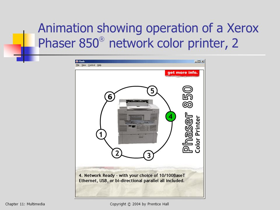 Chapter 11: MultimediaCopyright © 2004 by Prentice Hall Animation showing operation of a Xerox Phaser 850 ® network color printer, 3