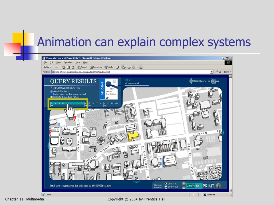 Chapter 11: MultimediaCopyright © 2004 by Prentice Hall Animation can explain complex systems