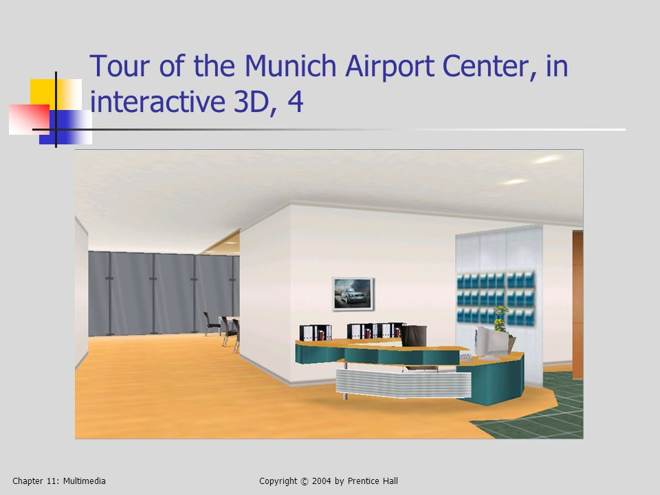 Chapter 11: MultimediaCopyright © 2004 by Prentice Hall Tour of the Munich Airport Center, in interactive 3D, 4