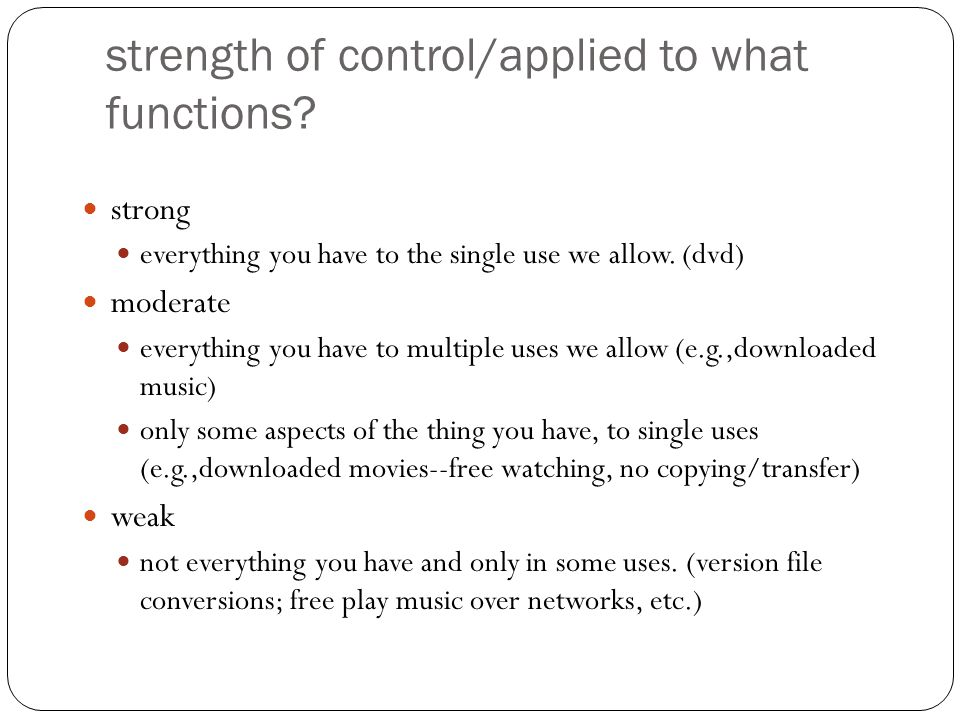 strength of control/applied to what functions.