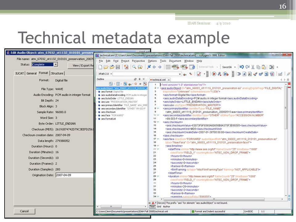 Technical metadata example 4/9/2010IDAH Seminar 16