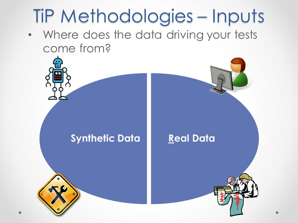 TiP Methodologies – Inputs Real DataSynthetic Data Where does the data driving your tests come from