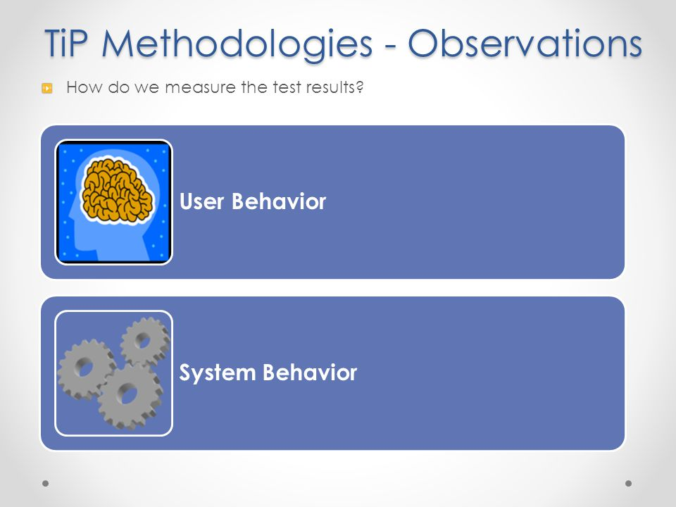 How do we measure the test results? User Behavior System Behavior TiP Methodologies - Observations