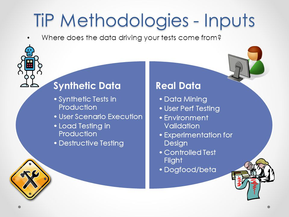 TiP Methodologies - Inputs Real Data Data Mining User Perf Testing Environment Validation Experimentation for Design Controlled Test Flight Dogfood/beta Synthetic Data Synthetic Tests in Production User Scenario Execution Load Testing in Production Destructive Testing Where does the data driving your tests come from