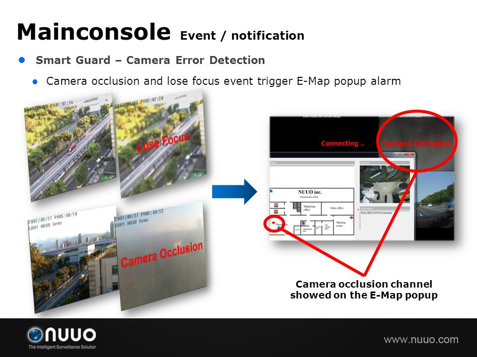 Smart Guard – Camera Error Detection Camera occlusion and lose focus event trigger E-Map popup alarm Mainconsole Event / notification Camera occlusion