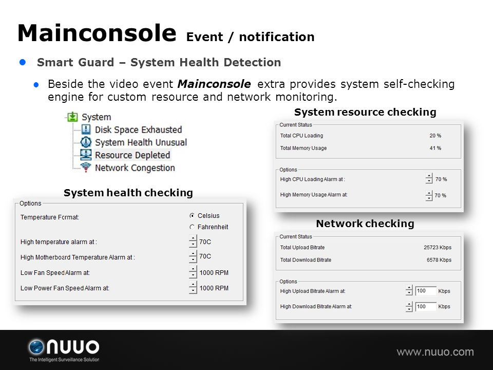 Smart Guard – System Health Detection Beside the video event Mainconsole extra provides system self-checking engine for custom resource and network mo