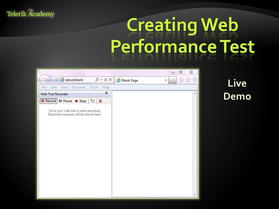  The web test recorder is used mainly to record all the actions performed while browsing web pages  Records all requests and responses  Helps us to find out if the request produces the expected result as per the requirement with different scenarios 34