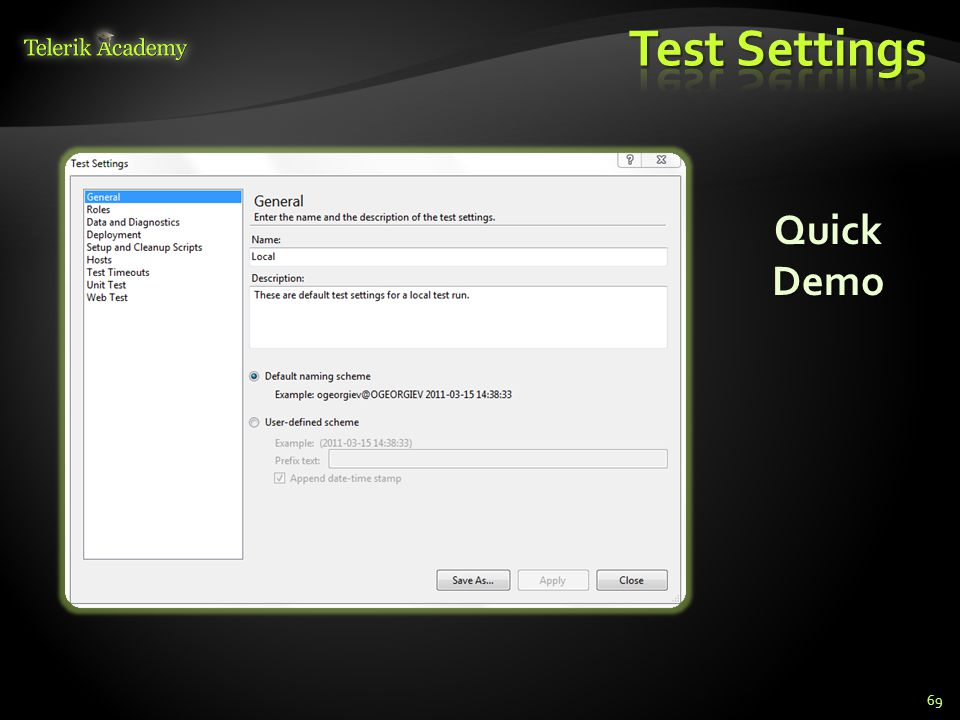  Use the Run Test option in the Web Performance Test editor toolbar to start running a test 70