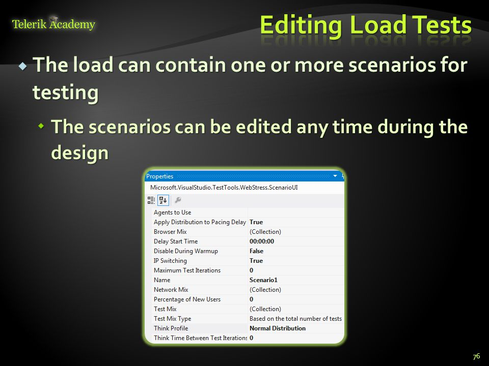  The load can contain one or more scenarios for testing  The scenarios can be edited any time during the design 76