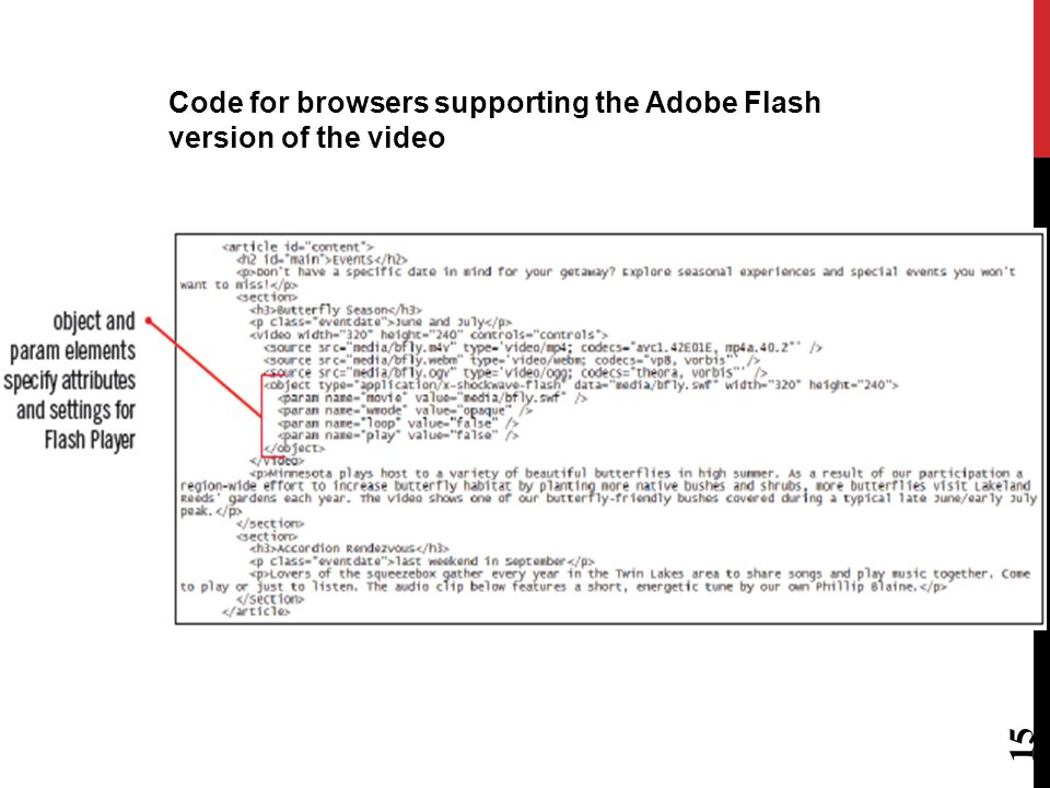 Older browsers do not recognize HTML5 elements You can add support for older browsers while maintaining HTML5 features for browsers that support it To make video available, use object and param elements object element defines video type / data param elements define settings of the video The object element was intended to replace the img and applet elements.