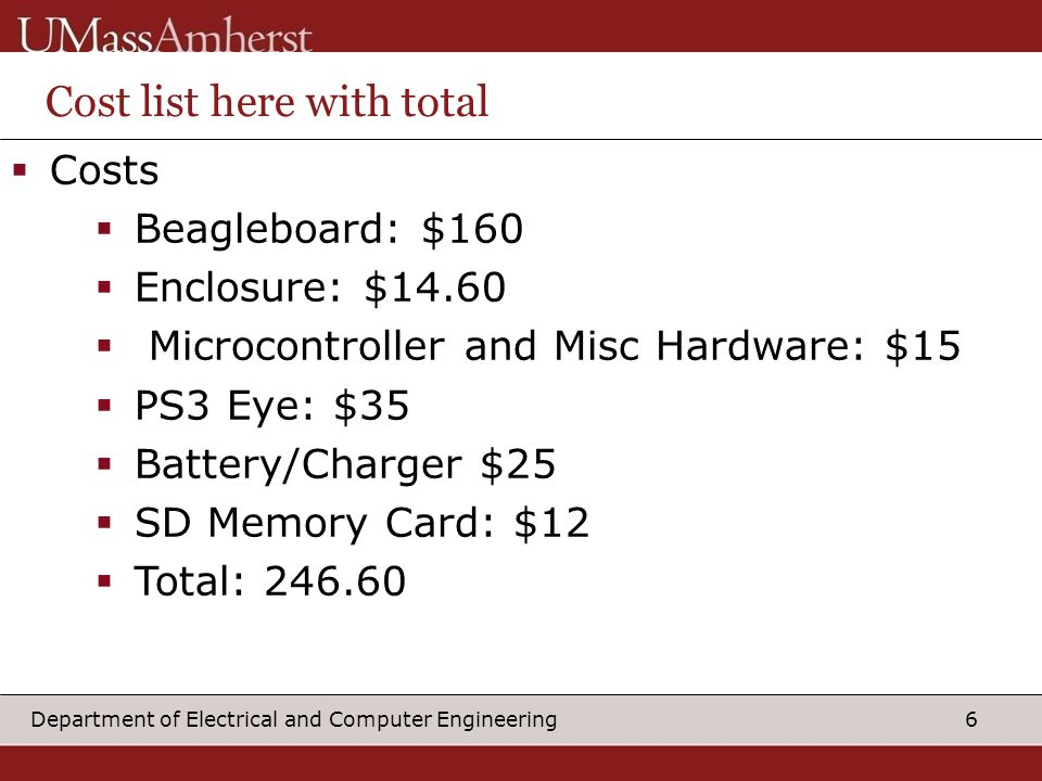6Department of Electrical and Computer Engineering Cost list here with total  Costs  Beagleboard: $160  Enclosure: $14.60  Microcontroller and Misc Hardware: $15  PS3 Eye: $35  Battery/Charger $25  SD Memory Card: $12  Total: 246.60