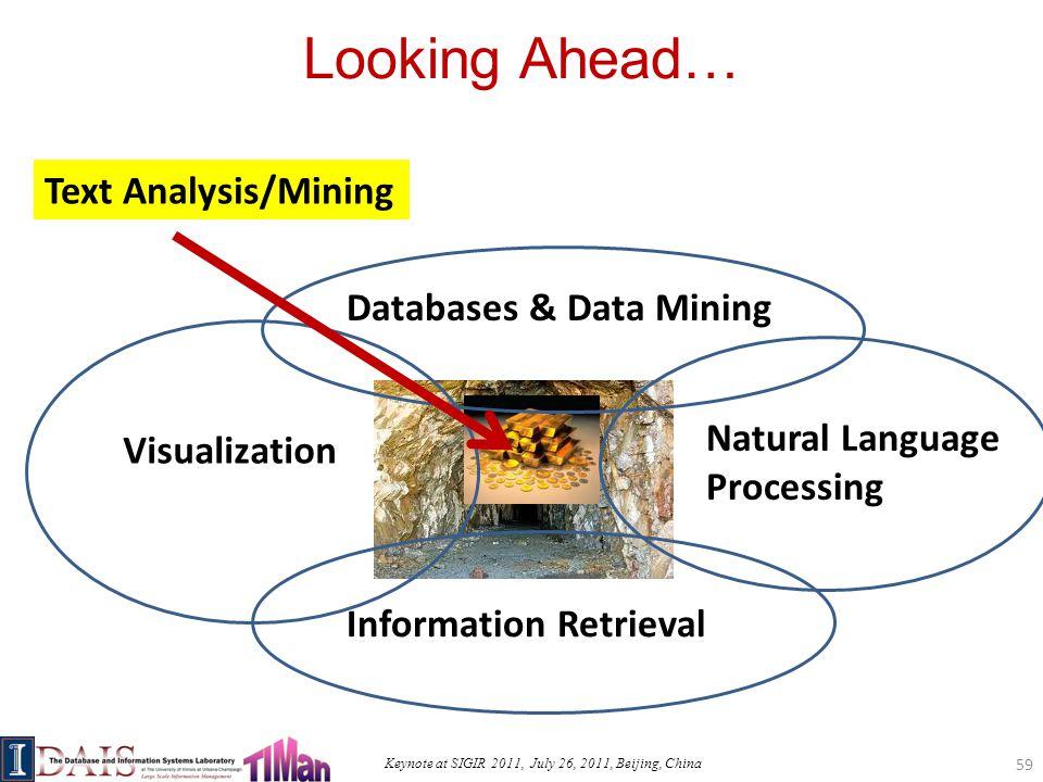 Keynote at SIGIR 2011, July 26, 2011, Beijing, China Looking Ahead… 59 Text Analysis/Mining Information Retrieval Databases & Data Mining Visualization Natural Language Processing