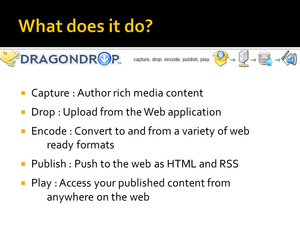  Capture : Author rich media content  Drop : Upload from the Web application  Encode : Convert to and from a variety of web ready formats  Publish