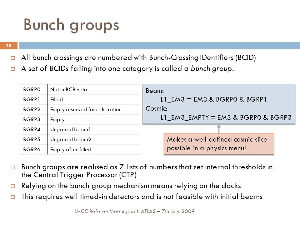 Bunch groups  All bunch crossings are numbered with Bunch-Crossing IDentifiers (BCID)  A set of BCIDs falling into one category is called a bunch group.