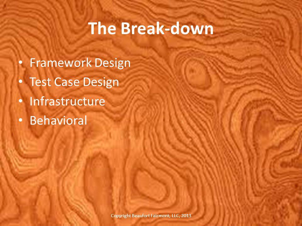 The Break-down Framework Design Test Case Design Infrastructure Behavioral Copyright Beaufort Fairmont, LLC, 2013